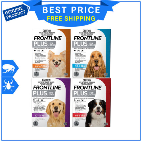FRONTLINE PLUS Flea and Tick Treatment All sizes for Dogs 6 Pipettes AU Seller