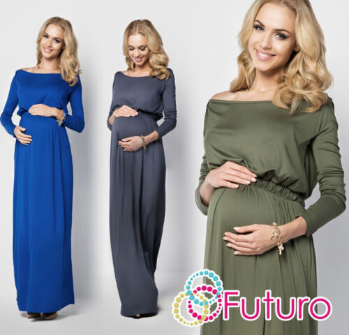 Ladies Maternity Evening Maxi Dress Long Sleeve Boat Neck Plus Sizes 8-18 FM08