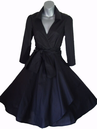 VINTAGE 50'S STYLE ROCKABILLY PINUP SWING WRAP EVENING PARTY DRESS SIZES 4 - 28 <br/> High QUALITY dress, UK SELLER