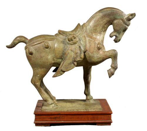 Majestic Asian 17th Century Bronze Horse on Pedistal with Patina on Wooden Base