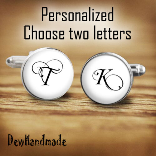 Personalized cufflinks Initial letter ideal for wedding customized cuff link