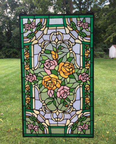 """Rose Flower Handcrafted stained glass window panel,  20"""" x 34"""""""