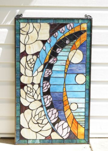 "Flowers Tiffany Style stained glass window panel, 20"" x 34"""