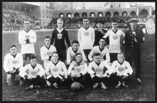 "1916 United States America SOCCER TEAM photo 16""x11"" poster. Antique Sports"