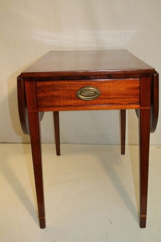 Gorgeous English Sheraton Inlaid Solid Mahogany Pembroke Table, Late 18th C.
