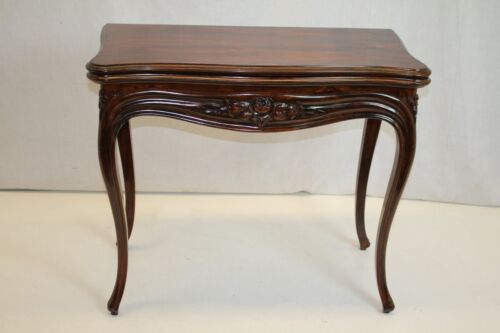 English Rosewood Card Games Hall Table with Folding Top & Inside felt c. 19th