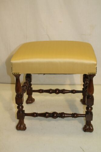 Charming William & Mary Style Walnut Bench Stool, New Upholstery