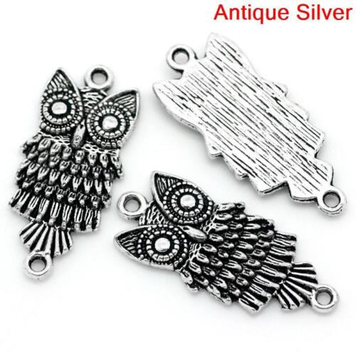 Lot of 10 Pieces Antique Silver Owl Connector Charm Pendant