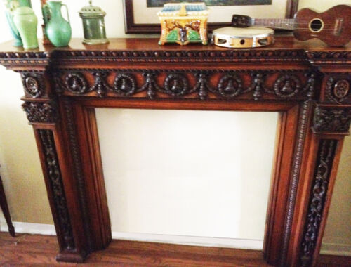 Beautiful Carved Antique Oak Mantel