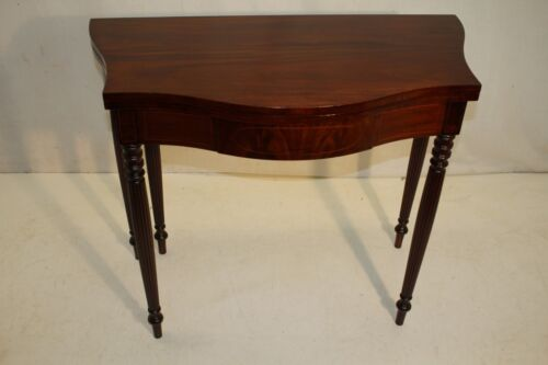 "english Sheraton style Inlaid Mahogany Game Card Table Stamped ""Cowan"""