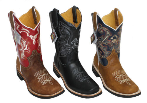 Men Cowboy Genuine Cowhide Leather PLAIN square toe rodeo western BOOTS