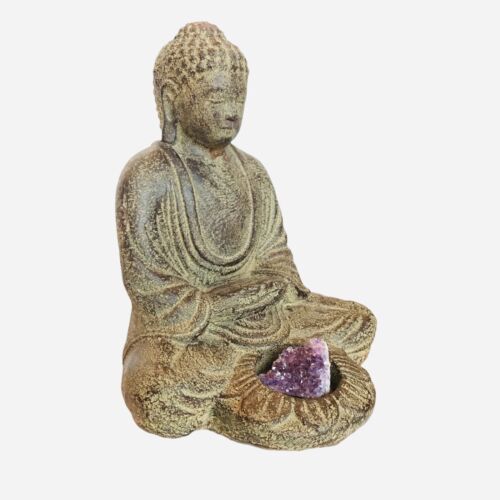 "Meditating Buddha with Lotus Candle Holder ~7.5"" High"