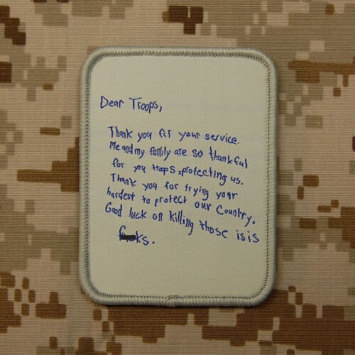 Dear Troops Letter Morale Patch Thank You For Your Service VELCRO® Hook & LoopArmy - 48824