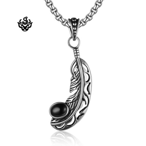 Silver feather pendant black onyx stainless steel chain necklace soft gothic