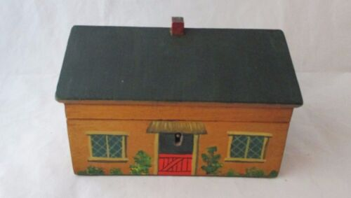 painted cottage TUNBRIDGE WARE sewing box;c1820's