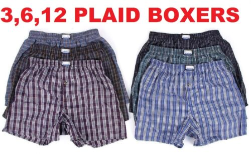 6 Mens Boxers Plaid Shorts Underwear Lot Cotton Briefs Pairs Pack Size S-4XL New <br/> BUY 12 PAIRS GET UPGRADED 1-3 DAYS PRIORITY SHIPPING!!!