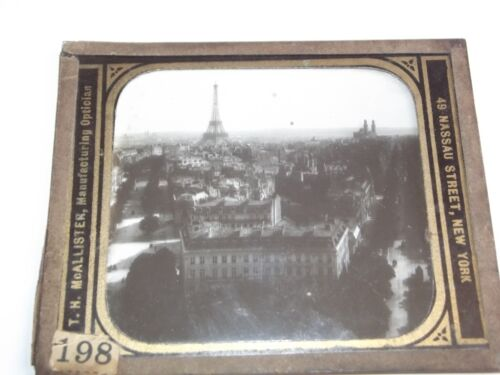 VTG GLASS LANTERN SLIDE, ELEVATED VIEW OF THE EIFFEL TOWER