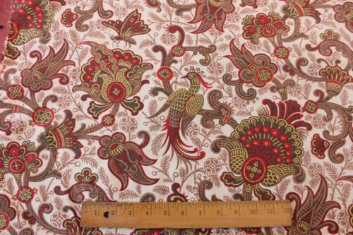 """Old 19thC French Exotic Jacobean&Bird Printed Home Dec Fabric~23""""LX32""""W"""