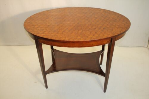 Great Inlaid English Edwardian Parquetry Top Oval Mahogany Center Table, 19th C.