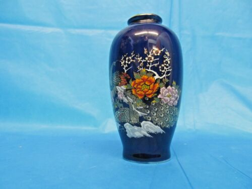 Vintage Hand Painted Blue Porcelain Japanese Vase