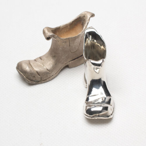 Australia Miniature Sterling Silver Chelsea Boots / Shoes with Wide Square Toe