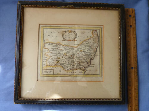 John Seller Era 1701 Original Framed Color Map County of Suffolke England