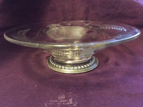 "Sterling and Crystal Dish 5.3""Diameter.-516"