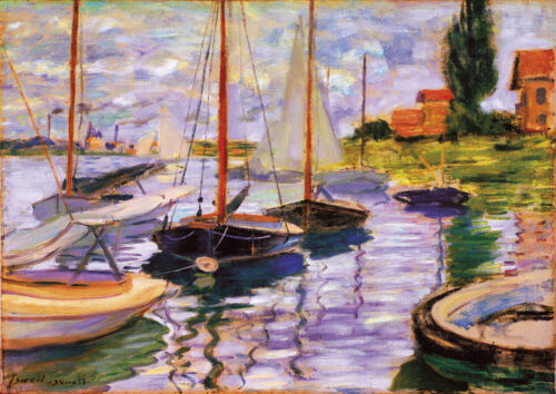 A4 size 21x29.7cm QUALITY Canvas Art Print Unframed Red Boats Claude Monet