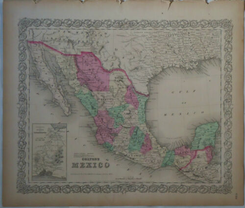 1854 Genuine Antique map of Mexico, Texas. Hand colored. Colton