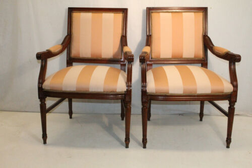 Pair of French Louis XV Style Maple Wood Fauteuils Side Chairs, New Upholstery