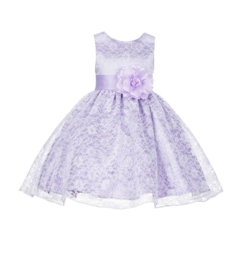 Wedding Floral Lace Overlay Flower girl dress Easter Birthday Christmas Party