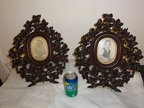 Pair 19th Cen  Black Forest Walnut Frames. Carved Oak Leaves and Berries