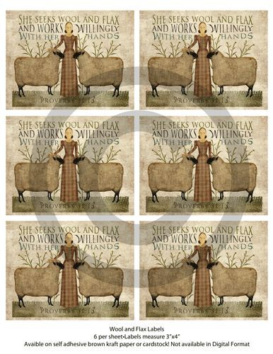 Primitive Wool and Flax Labels Sheep Ewe For Candles Jars Cans Books Set of 6