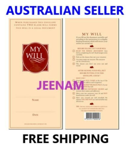 Australian DIY Will Form (includes 2 Will forms) + Simple Step by Step Guide KIT