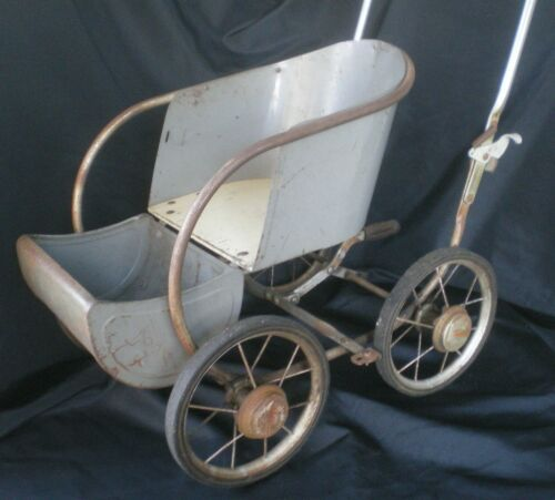 GREAT VINTAGE THAYER METAL BABY DOLL BEAR CARRIAGE , FOLDING HANDLE , WHEELS!