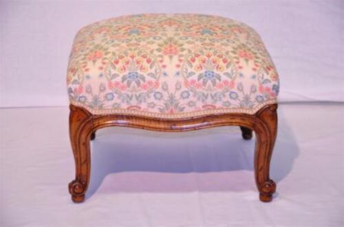 Darling French Louis XV Style Distressed Walnut Foot Stool Footstool