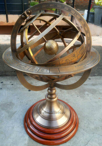 Solid Brass Engraved Tabletop Armillary Nautical Sphere Globes -World Globe