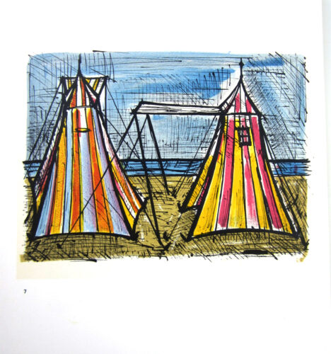 Expressionist Bernard Buffet Mid century Lithographic Print TENTS