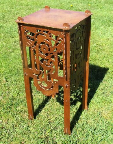 Pedestal Table Plant Stand Carved Twisted Ornate wood Beautiful 26.57""