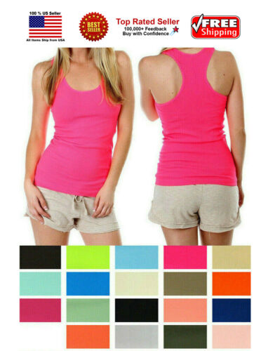 Women Lady Soft Seamless Ribbed Racer Back Stretch Tank Top Yoga Hot Tee Layer