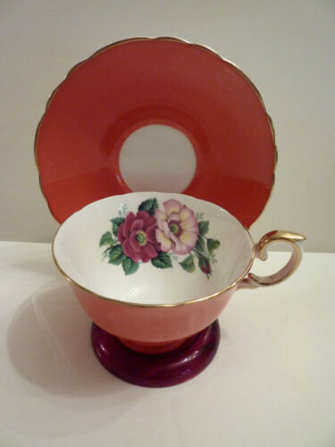 CROWN STAFFORDSHIRE TEA CUP AND SAUCER LARGE CENTER ROSES ORANGE TEACUP PATTERN