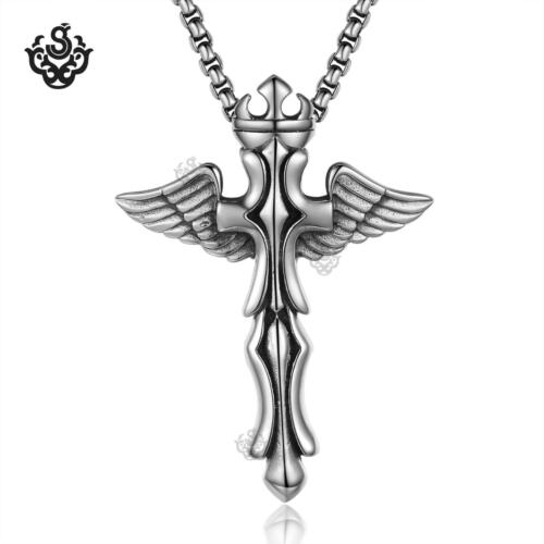cross necklace silver crown angel wings pendant large solid soft Gothic jewelry