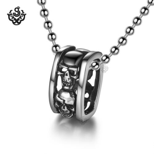 """Silver skull pendant stainless steel ring ball chain necklace soft Gothic 24"""""""