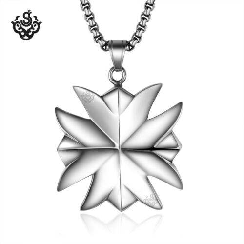Silver funky cross pendant stainless steel necklace solid extra large XL