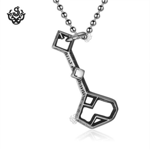 Silver treasure box key pendant stainless steel ball chain necklace soft gothic