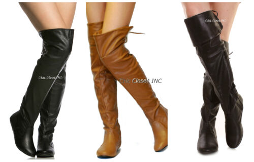 New Over The Knee High Boots Women Flat Heel Lace Back Faux Leather Women Shoes