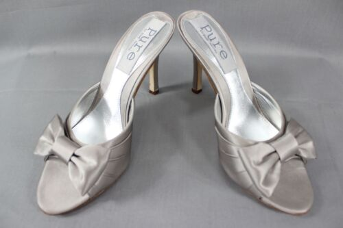 BNIB PURE BY DIANE HASSALL GREY SILK HEELED LEATHER BRIDAL SHOES: SIZES 2 - 5.5