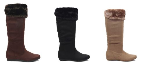 New Women Suede Mid Calf Flat Boots Wide Calf Black Brown Taupe