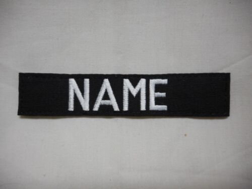CUSTOM EMBROIDERED BLACK NAME TAPE, NEW, 5 INCH LENGTH, WITH HOOK FASTENER*Army - 48824