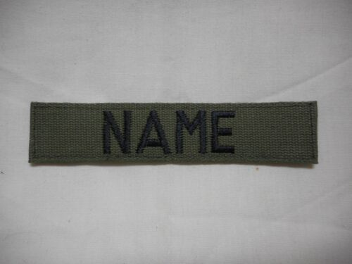 CUSTOM EMBROIDERED OD GREEN NAME TAPE, NEW, 5 INCH LENGTH, WITH HOOK  FASTENER*Army - 48824